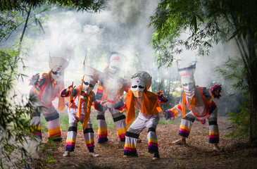 Phi ta khon festival ghost mask and colorful costume fun traditional thailand mask the show art and culture loei province Dan Sai thailand festival - phi ta khon or halloween of Thailand