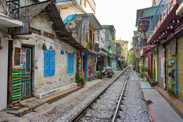 Hanoi, Vietnam. Oct 12, 2019. Hanoi Train Street. Life beside the train tracks in Old City.
