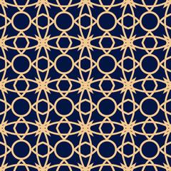Dark blue seamless background with golden pattern. Arabic ornament