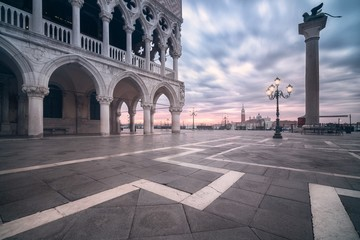 View of sunrise in piazza san marco, venice italy