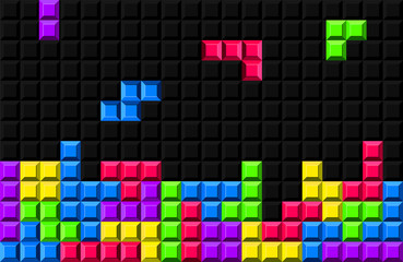 Creative vector illustration of tetris - video game background. Art design retro color block shapes template. Abstract concept graphic colorful pattern with pixel bricks element