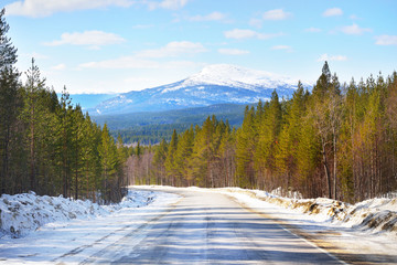 A view of the empty asphalt road through the coniferous forest. Snow-covered mountains in the background. Winter landscape. Kola Peninsula, Murmansk region, Polar Circle, Karelia, Russia