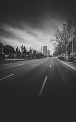 Passeo de la Castellana, a wide boulevard in central Madrid - monochrome
