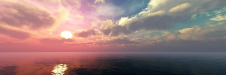 Beautiful panorama of the sea landscape, panorama of sea sunset, sea sunrise, light in the sky with clouds above the water,Beautiful panorama of the sea landscape, panorama of sea sunset, sea sunrise,