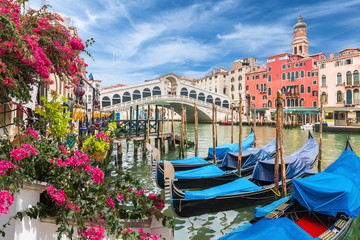 Glandscape with gondola on Grand Canal, Venice, Italy