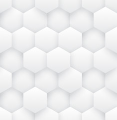 3D Vector Hexagons White Abstract Seamless Pattern. Science Technology Hexagonal Blocks Structure Light Conceptual Repetitive Wallpaper. Three Dimensional Clear Blank Subtle Textured Tileable Backdrop