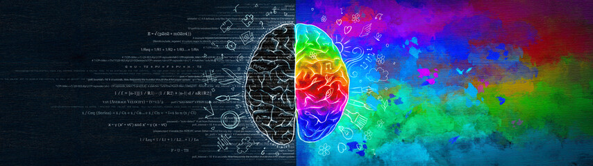 The Difference in the Work of the Right and Left Hemispheres of the Brain. Analytical Thinking Versus Abstract. Ultrawide Illustration.
