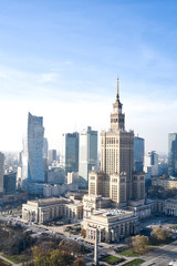 aerial view of the Palace of Culture and Science in the capital of Poland Warsaw