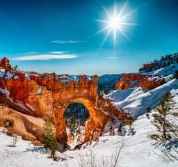 Beautiful scenery of the snowy Bryce Canyon under the shining sun