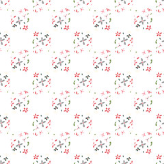 Spring seamless vector pattern repeat of small flowers arranged to give the illusion of a checked pattern, on a white background. Based on original watercolour and ink sketches.