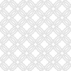 Vector abstract geometric floral seamless pattern. Subtle white and light gray background. Simple graphic ornament texture with rhombuses, square grid, mesh, diamond shapes. Delicate repeat design
