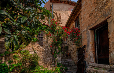 Old buildings with flowers in the streets of Eze Village, medieval city in South of France along the Mediterranean Sea