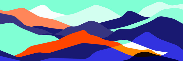 Trend color mountains, translucent waves, abstract glass shapes, modern background, vector design Illustration for you project