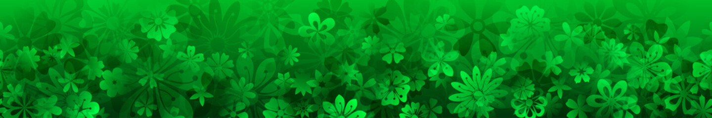 Spring banner of various flowers in green colors with seamless horizontal repetition