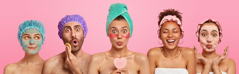 Collage shot of five people appy face masks, hold beauty sponges, stand with bare shoulders indoor, care about appearance and beauty, isolated on pink background. Wellness, cosmetology, spa concept