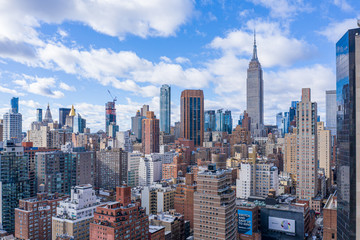 New York City Midtown Skyline with Empire State in daytime, aerial photography