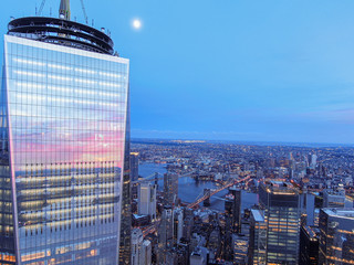 New York City Skyline with WTC in sunset, aerial photography