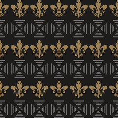 Modern seamless pattern. Background picture in retro style. Template - wallpaper for your design ideas. Color in the image: gold, black, silver. Vector.