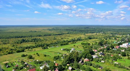 Russian village aerial view in summer