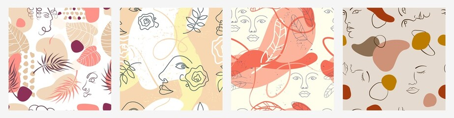Set of different colorful abstract face and flowers seamless pattern vector flat illustration. Collection of futuristic pastel human facial line and shapes decoration isolated on white background