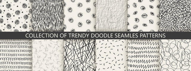 Set of seamless hand drawn texture designs for backgrounds, vector illustration. Trendy teens style patterns