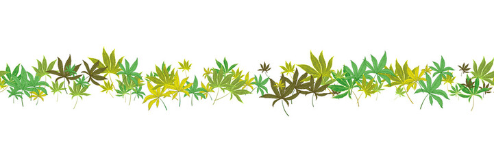 Horizontal seamless marijuana leaves pattern