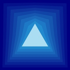 Bright triangle on a blue background. The effect of layering.