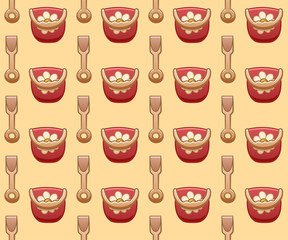 Red plastic baby buckets and beige shovels seamless pattern
