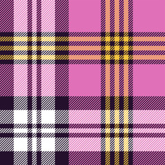Plaid pattern seamless vector texture. Bright tartan check plaid background in black, white, pink, yellow for flannel shirt, blanket, throw, duvet cover, or other summer spring textile design.