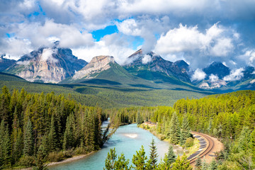 Morant's Curve, famous landscape with railway. Banff National Park, Canada