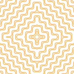 Yellow wavy seamless pattern. Abstract vector texture with concentric shapes, diagonal waves, curved lines, crosses, stripes. Stylish minimalist background. Modern repeatable design for decor, prints