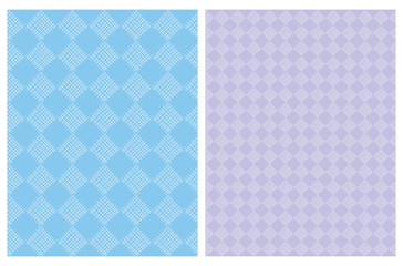 Simple Abstract Geometric Seamless Vector Pattern. White Hand Drawn Diamond Shape Elements Isolated on a Blue and Violet Backgrounds. Infantile Style Irregular Geometric Vector Print.