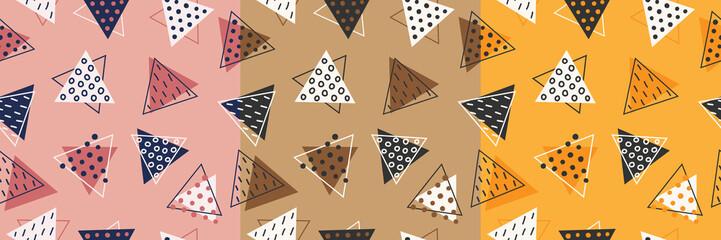 Set of three geometric seamless patterns. Modern design, pink, brown, orange. Triangles, circles, lines.