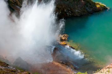 "Geyser eruption in the ""Valley of geysers"", Kamchatka."