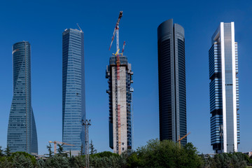 View of the four towers of Madrid, and the progress of the construction of the fifth tower