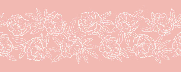 Elegant hand drawn peonies horizontal seamless pattern, lovely floral background, great for textiles, banners, wallpapers, wrapping - vector design