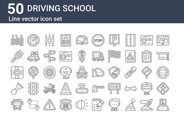 set of 50 driving school icons. outline thin line icons such as learning, bus, klaxon, street, car key, speedometer, rearview mirror