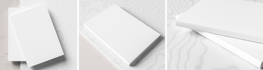 Realistic hardcover book or catalogue mock up on gray - white marble background.  White hardcover book mock up  rendered with three different variations. 3D illustration.