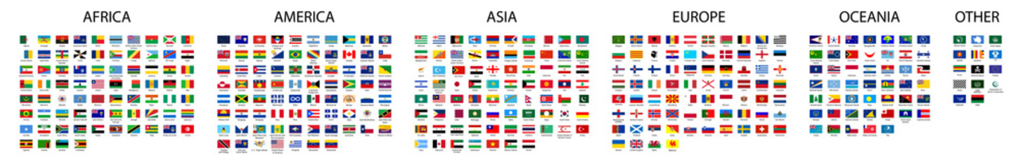 Flag of world. Vector icons. Set flags.