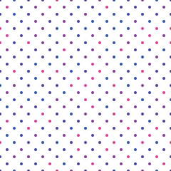 Seamless polka dot pattern. Pink, violet and blue dots in random sizes on white background. Vector illustration