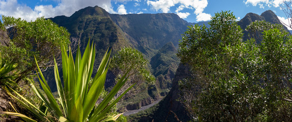 Beatiful panoramic view over Reunion island green tropical landscape