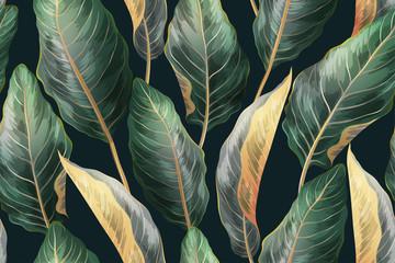 Palm leaves seamless vintage pattern
