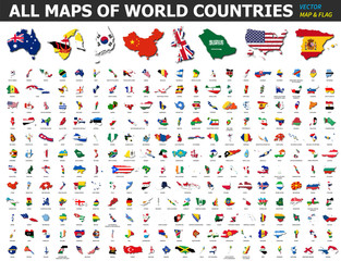 All maps of world countries and flags . Collection of outline shape of international country map with shadow . Flat design . Vector .