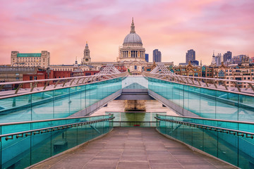 Millenium bridge and St Pauls Cathedral in London, England, UK