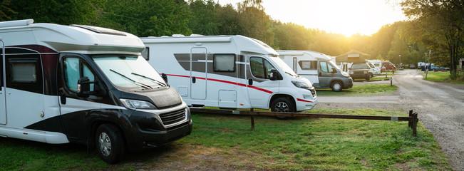 Camper vans in a camping park