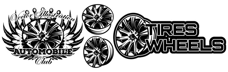 Vector monochrome illustration of set of wheel car drive