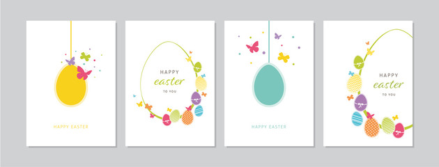 Easter cards set with hand drawn hangings eggs, butterflies and dots. Doodles and sketches vector vintage illustrations, DIN A6.