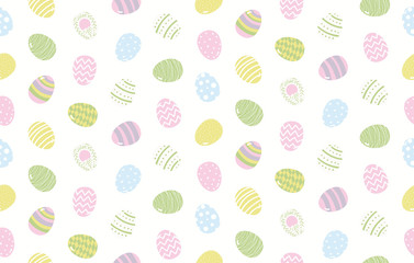 Hand drawn seamless vector pattern with cartoon painted eggs, on a white background. Scandinavian style flat design. Concept for Easter day kids textile print, wallpaper, wrapping paper, packaging.