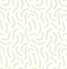 Hand drawn seamless floral vector pattern with green grasses, leaves on white background. Scandinavian style flat design. Concept for Easter, spring day kids textile print, wallpaper, paper, packaging