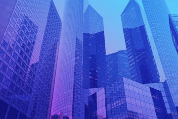 business office buildings background, modern architecture, skyscrapers with neon colors